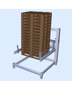 Pallet feeder for use with two different types of pallet,  automatically adjustable Granta